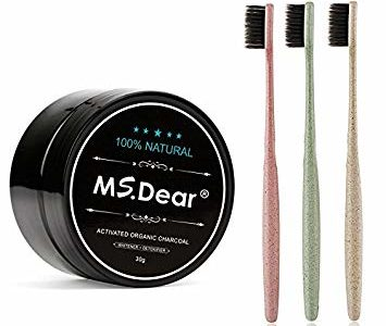 Ms.Dear Bamboo Activated Charcoal Powder Natural & Organic Teeth Whitening + 3 Pack Toothbrush… Review