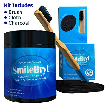 SMILEBRYT - Charcoal Teeth Whitening - Activated Charcoal Tooth Whitener with Bamboo Toothbrush &...